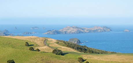 Kauri Cliffs golf course from Eagles Nest, Russell, Bay of Islands, New Zealand