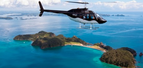 Helicopter at Eagles Nest, Russell, Bay of Islands, New Zealand